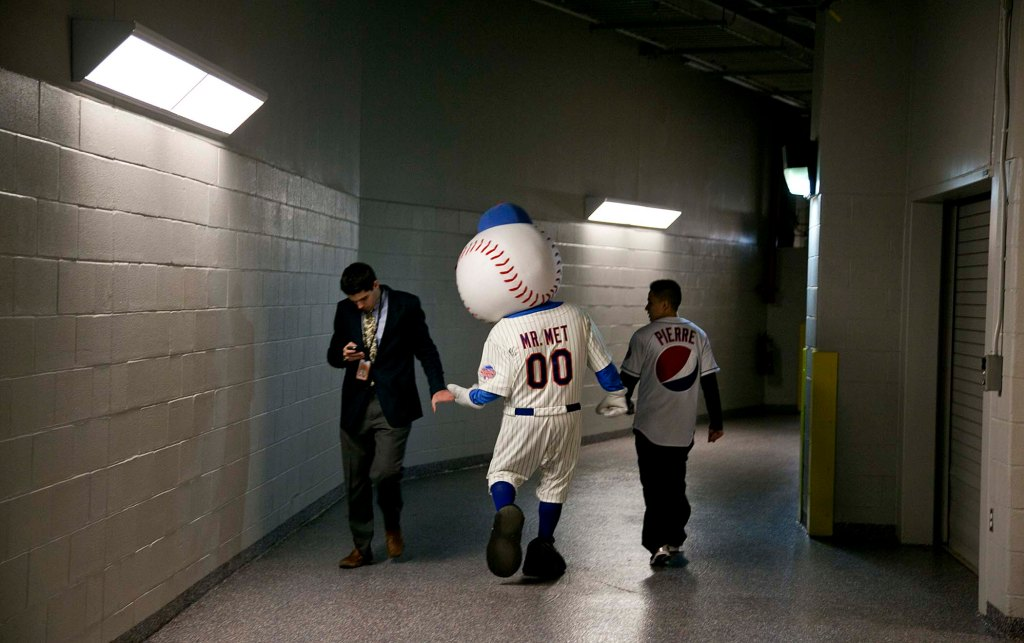 Mr. Met, the New York Mets' mascot, before the team's season opening game against the San Diego Padres in New York.